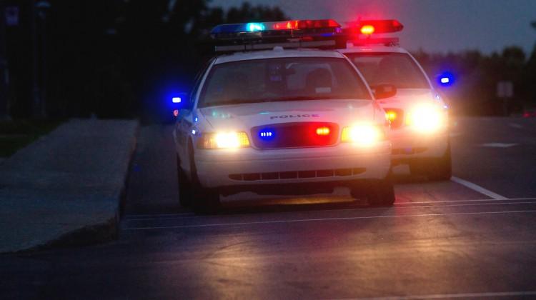 Police cars on street